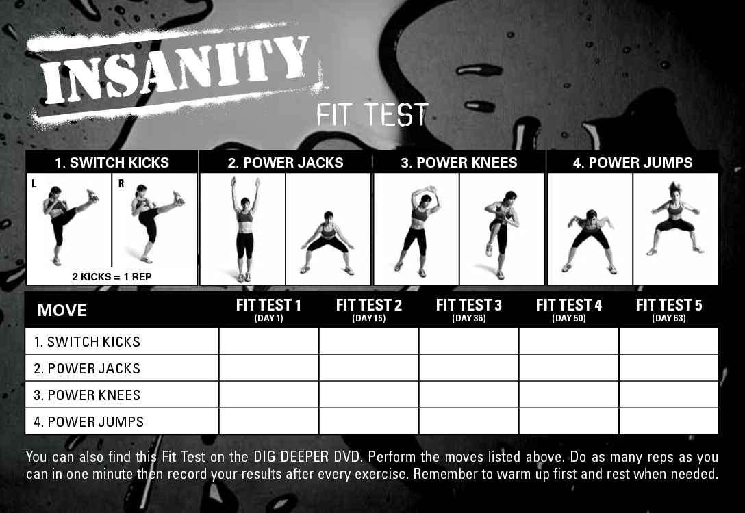 Insanity Workout Fit Test Sheet – Insanity Workout Sheet